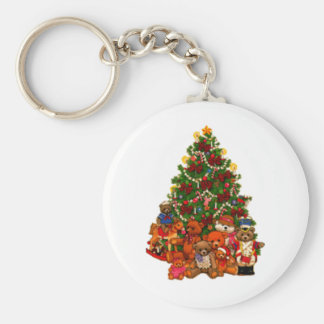 Christmas Tree and Teddy Bears Basic Round Button Key Ring