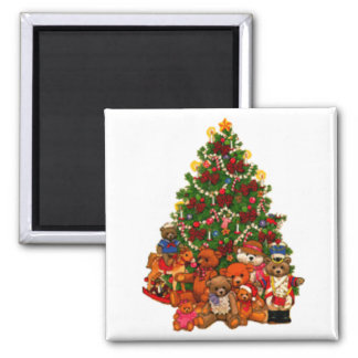 Christmas Tree and Teddy Bears Refrigerator Magnet