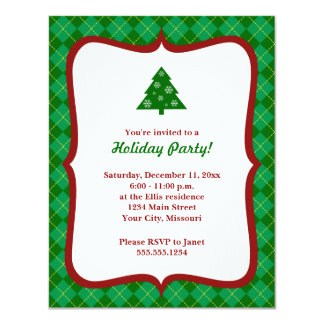 Christmas Tree Argyle Party Invitations