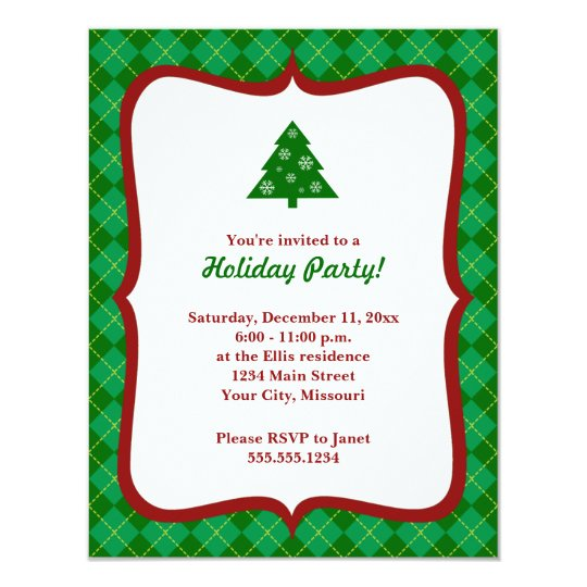 Christmas Tree Argyle Party Invitations