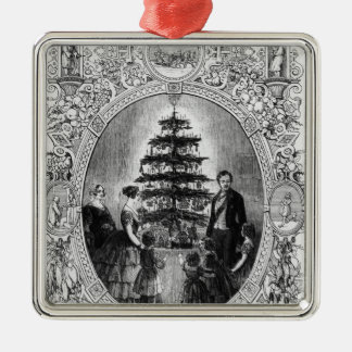 Christmas Tree at Windsor Castle, 1848 Silver-Colored Square Decoration