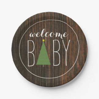 Christmas Tree Baby Shower - Wood Inspired Paper Plate