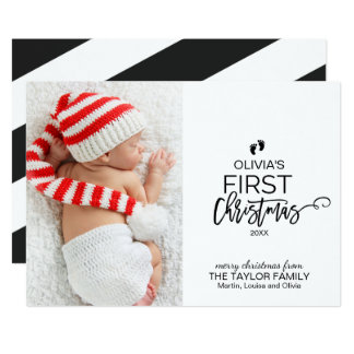 Christmas Tree Baby's First Christmas Photo Card