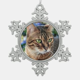 Christmas Tree Background Bengal Cat Snowflake Pewter Snowflake Decoration