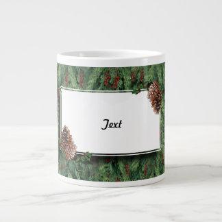 Christmas Tree Background w/Tag Jumbo Mug