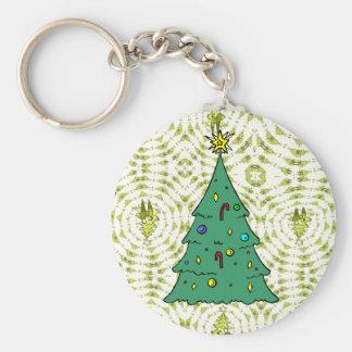 Christmas tree basic round button key ring