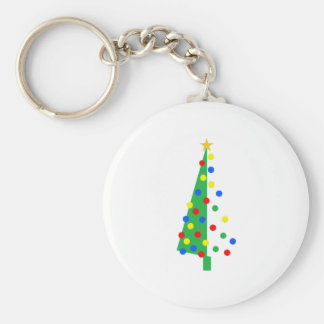 Christmas Tree Basic Round Button Key Ring
