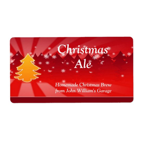 Christmas Tree Beer Label Shipping Label
