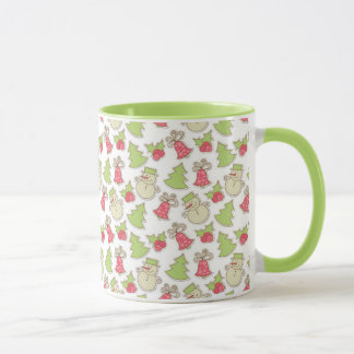 Christmas tree, bells, holly, snowman mug