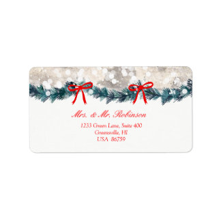 Christmas Tree Birch Bark Yuletide Swag Bow Label Address Label