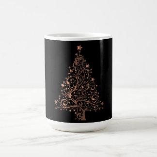 Christmas Tree Black Metallic Brown Copper Elegant Coffee Mug