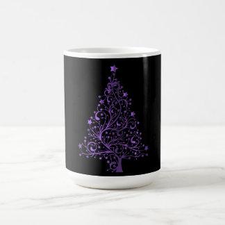 Christmas Tree Black Metallic Purple Elegant Shiny Coffee Mug