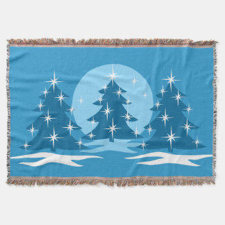 Christmas Tree Blanket Blue Holiday Throw Blankets