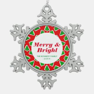 Christmas Tree Blocks Pewter Snowflake Decoration