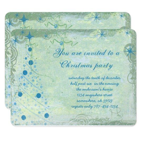 Christmas Tree Blues Grunge Party Invitation