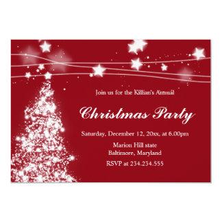 Christmas Tree Bright Stars Christmas Party Maroon Card