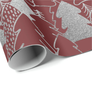 Christmas Tree Burgundy Silver Gray Glitter Wood Wrapping Paper