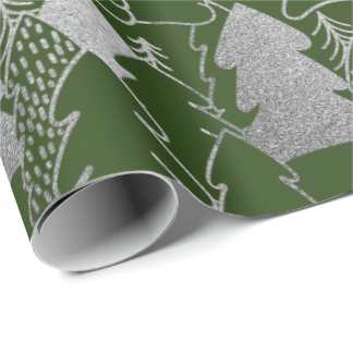 Christmas Tree Cali GreenSnow Silver Gray Glitter Wrapping Paper