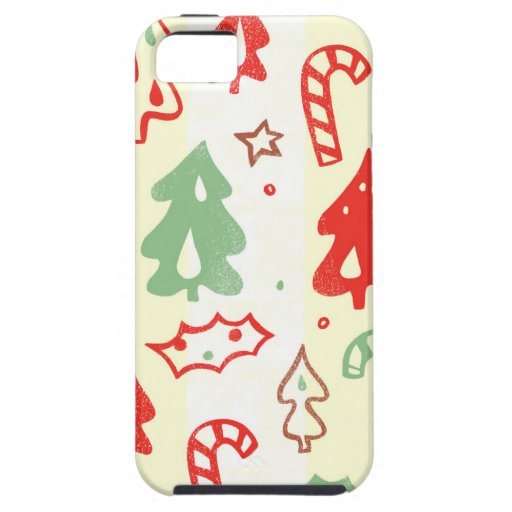 Christmas Tree Candy Cane Holly Pattern iPhone 5 Case