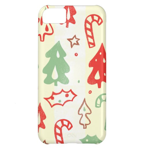 Christmas Tree Candy Cane Holly Pattern iPhone 5C Case