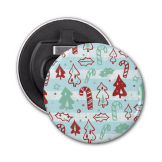 Christmas Tree Candy Cane Holly Pattern on Blue Bottle Opener