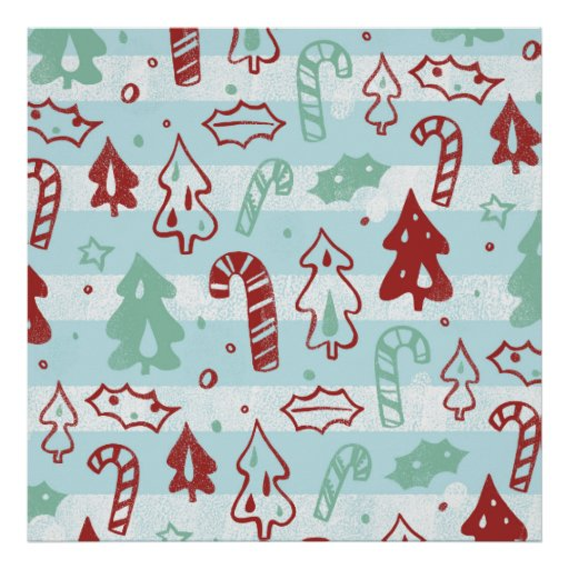 Christmas Tree Candy Cane Holly Pattern on Blue Posters