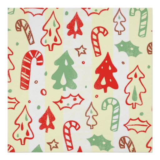 Christmas Tree Candy Cane Holly Pattern Posters