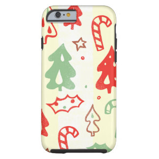 Christmas Tree Candy Cane Holly Pattern Tough iPhone 6 Case