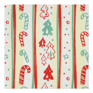 Christmas Tree Candy Cane Stripe Pattern Posters