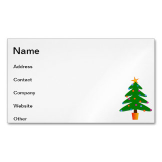 Christmas tree cartoon magnetic business cards