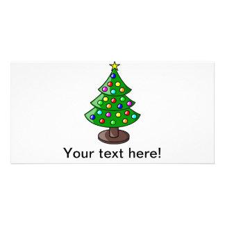 Christmas tree cartoon photo card template