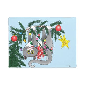 Christmas Tree Cat Doormat