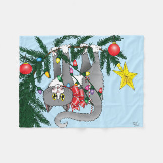 Christmas Tree Cat Fleece Blanket