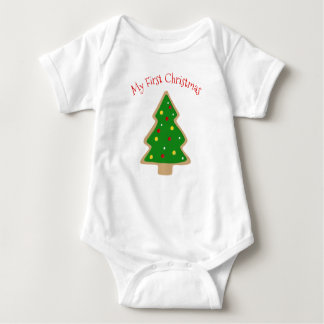Christmas Tree Christmas Cookie My First Christmas Baby Bodysuit