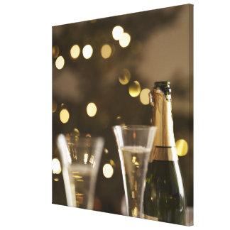 christmas tree, christmas lights, champaigne stretched canvas print