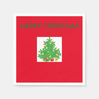 CHRISTMAS TREE COCKTAIL RED NAPKINS DISPOSABLE SERVIETTES
