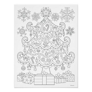 Christmas Tree Coloring Poster - Colorable Poster