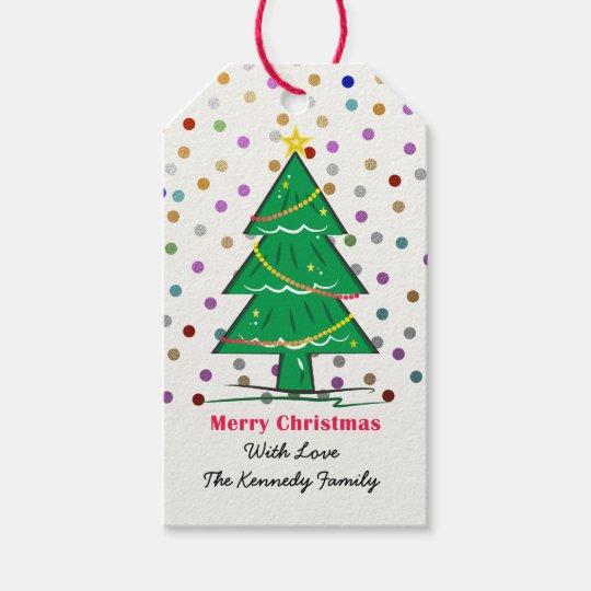 Christmas Tree Confetti Dots Christmas Holiday Gift Tags