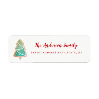 Christmas Tree Cookie Holiday Return Address Label
