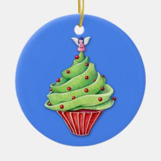 Christmas Tree Cupcake blue Ornament