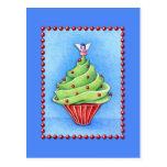 Christmas Tree Cupcake blue Postcard