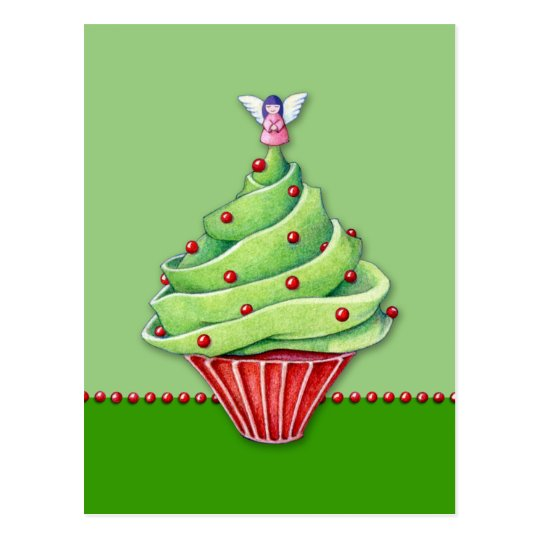 Christmas Tree Cupcake green Postcard