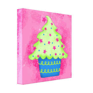 Christmas Tree Cupcake Pink Original Art Gallery Wrap Canvas