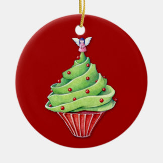 Christmas Tree Cupcake red Ornament
