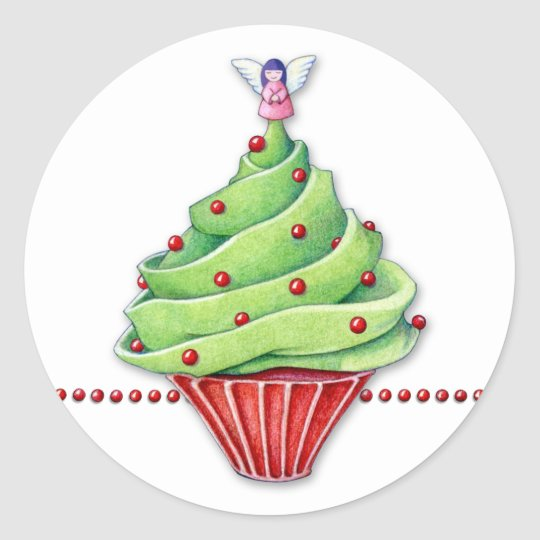 Christmas Tree Cupcake Sticker