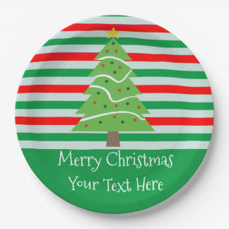 Christmas Tree Custom Plates with Stripes