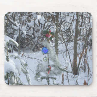 Christmas Tree Decorated outdoors Mousepads