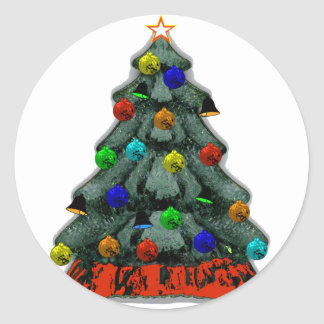 Christmas Tree Decorated The MUSEUM Zazzle Gifts Round Stickers