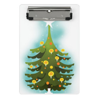 Christmas tree decorated with candles and balls mini clipboard