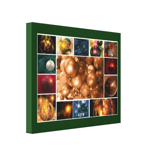 Christmas Tree Decoration Collage Gallery Wrap Canvas